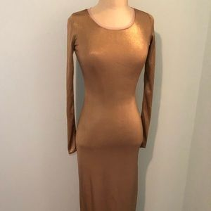 Michael Kors Gold Slit Gown
